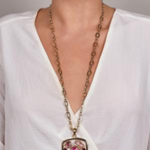 Oscar De La Renta - Gold Crystal Pendant Necklace