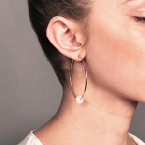 Chains and Pearls - Pearl Hoop Earrings (14k Rose Gold)