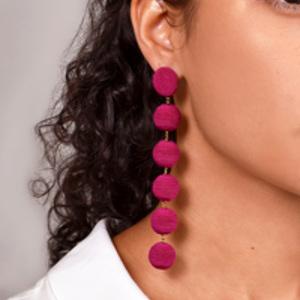 Rebecca De Ravenel - Six Drop Skinny Earrings (Fuchsia)