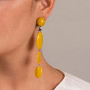 Angela Caputi - Resin Oval Dangle Earrings (Yellow)