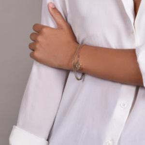 Chanel - Vintage Double Chain Pink Crystal CC Logo Bracelet