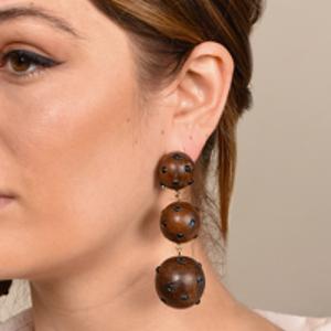 Rebecca De Ravenel - Classic Three Drop Dark Wood and Denim Earrings