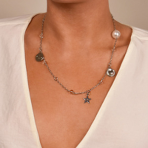 Christian Dior - Crystal & Faux Pearl Charm Station Necklace