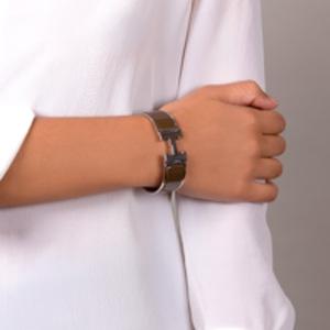 Hermes - Wide Clic Clac H Bracelet (Khaki/Palladium Plated) - GM
