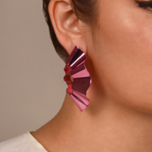 Gaviria - Large Ravioli Earrings (Pink)