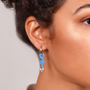 Bea Bongiasca - Asymmetrical Vine Baby Hoops (Turquoise and Crystal)