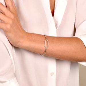 Yu  - Wire Bracelet With Diamonds (14k White Gold)