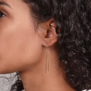 White/Space - Long Threader Earrings
