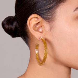 Alison Lou - Medium Jelly Hoops (Gold Glitter)
