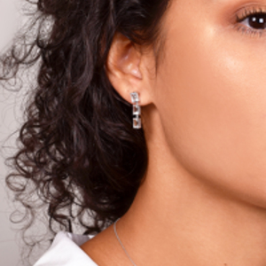 Suzanne Kalan - White Gold Emerald Earrings (White Topaz)