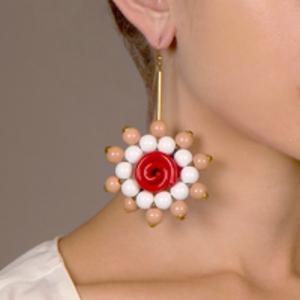 Marni - Beaded Flower Drop Earrings