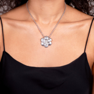 Chanel - Silver Matelasse Floral Necklace