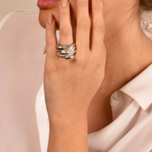 Rebecca Pinto - Lamu/Manda Ring Set (Sterling Silver) - Size 6