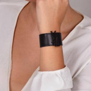 Yves Saint Laurent - Monogram Black Leather Cuff Bracelet (Black) - Small