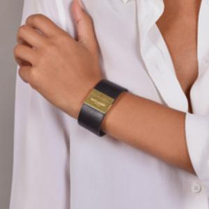 Yves Saint Laurent - Calfskin Leather Bracelet (Gold)