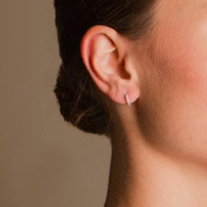 Switch - Diamond Huggie Earrings (18k White Gold)