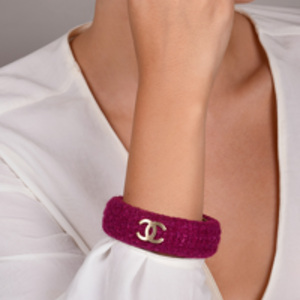 Chanel - Vintage Magenta Tweed CC Bangle