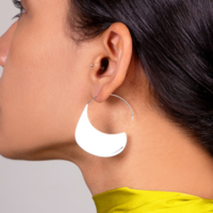 Celine - Swirl Hoop Earrings (Silver)