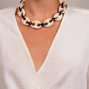 Angela Caputi - Black/Beige Cutout Resin Necklace