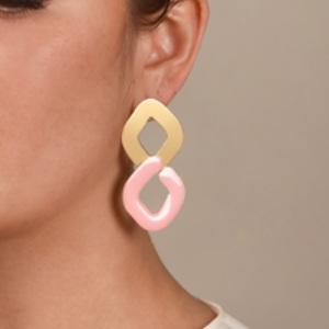Gaviria - 2 Chain Earrings (Gold/Light Pink)