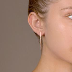Switch - Simple Diamond Long Bar Earrings (18k Rose Gold)