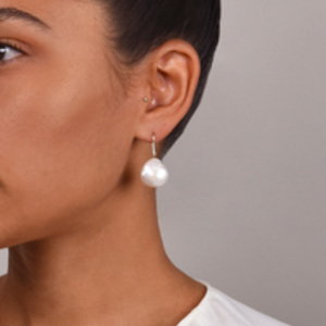 Chains and Pearls - Cloud Dangle Earrings (14k Yellow Gold, Baroque Pearls, and Diamonds)
