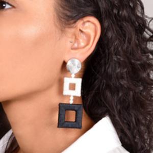 Oscar De La Renta - Silk-Wrapped Double-Square Earrings