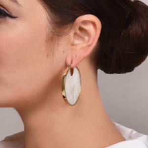 Studio Elke - Eclipse Hoop Earrings (Pearl)