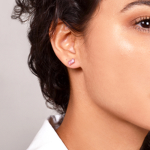 Suzanne Kalan - Rose Gold Three Baguette Earring (Morganite)
