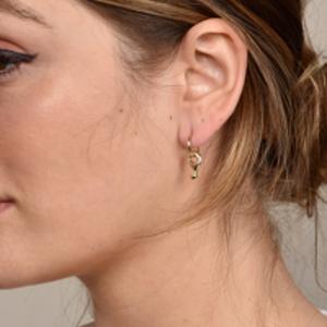 Rebecca Pinto - Digue Dangle Hoop Earrings (14k Yellow Gold)