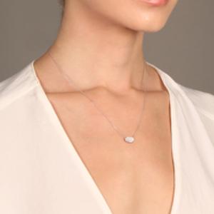 Yu  - Diamond Oval Necklace (14k White Gold)