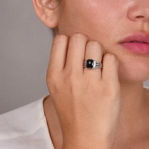 David Yurman - Petite Wheaton Ring (Onyx and Diamonds) - Size 5.5