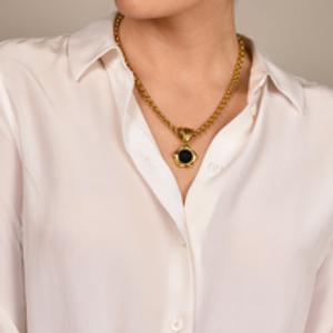 Fendi - Vintage Black Crest Pendant and Gold Chain Necklace