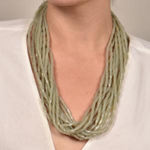 Angela Caputi - Multi Strand Resin Beaded Necklace (Green)