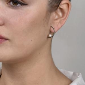 Mateo - Half Moon Pearl Earrings
