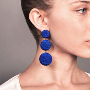 Rebecca De Ravenel - Classic Silk Corded Clip Earrings (Navy)