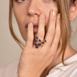 Yves Saint Laurent - Arty Dots Ring (Lapis Lazuli) - Size 7