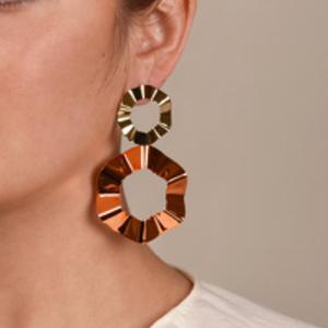 Gaviria - Double Ravioli Earrings (Orange/Gold)