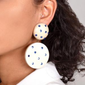 Rebecca De Ravenel - Marina White Wood and Denim Statement Earrings