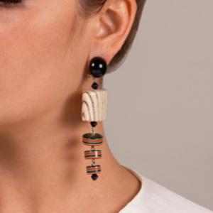 Angela Caputi - Wood Striped Resin Earrings