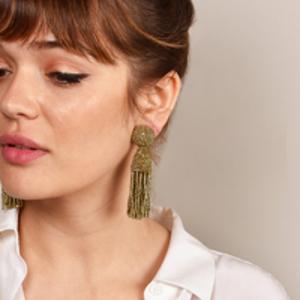 Oscar De La Renta - Gold Short Beaded Tassel Earrings