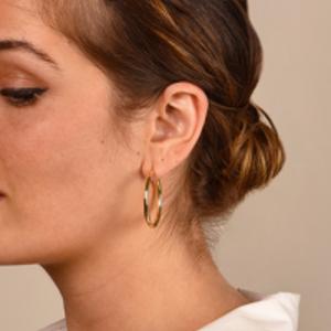 Yu  - Yellow Gold Hoop Earrings