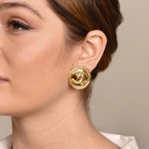 Chanel - Weave CC Logo Pop Out Clip On Earrings