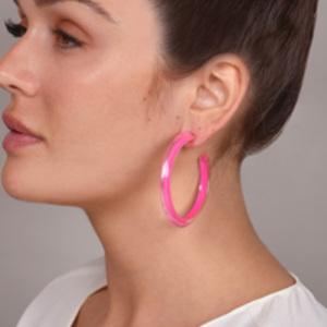 Alison Lou - Medium Jelly Hoops (Neon Pink)