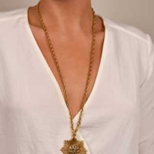 Chanel - Vintage CC Logo Cutout Sunburst Necklace