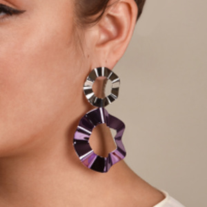 Gaviria - Double Ravioli Earrings (Lavender/Silver)