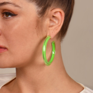 Alison Lou - Medium Jelly Hoops (Neon Green)